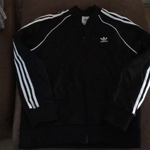 Adidas jacket black and white stripes
